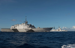 USS Freedom (LCS 1) conducts a passing exercise with the Bangladesh Navy ship BNS Somudro Joy (F-28), Nov. 26. (U.S. Navy photo by Mass Communication Specialist 3rd Class Karolina A. Oseguera)