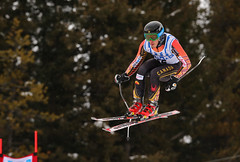 Morgan Pridy gets some  air during the downhill in Lake Louise, CAN