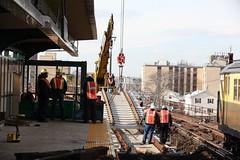 Installing concrete tie panels on Rockaway Line