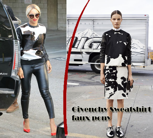 Givenchy-Sweatshirt-faux-pony, Givenchy cow print sweater, monochrome look, red stilettos heels, black leather pants, red lipstick, red manicure, sweater, monochrome sweater, cow print top, cow print sweater