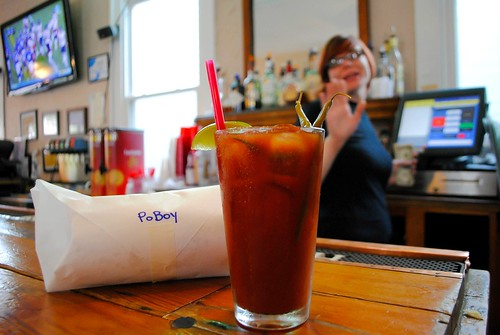 mahonys po boy and bloody mary