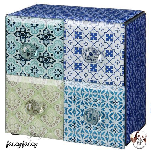 65.殖民風圖騰飾品收納盒-藍紫色