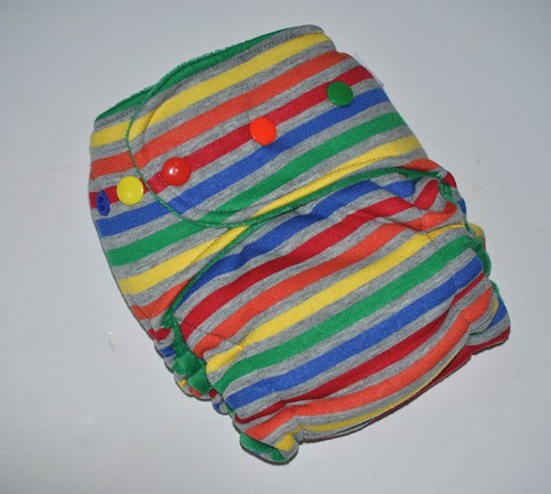 Bumstoppers MiniBum  Hybird Fitted Rainbow After the Storm Cotton Velour