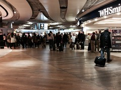 Duty free shops and a waiting area of London Heathrow Airport Terminal 3