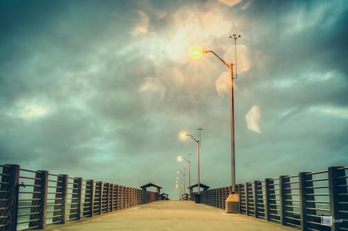 morning clouds sunrise stpetersburg pier nikon warm tampabay florida 28mm overcast noflash crisp hdr fortdesoto centralperspective