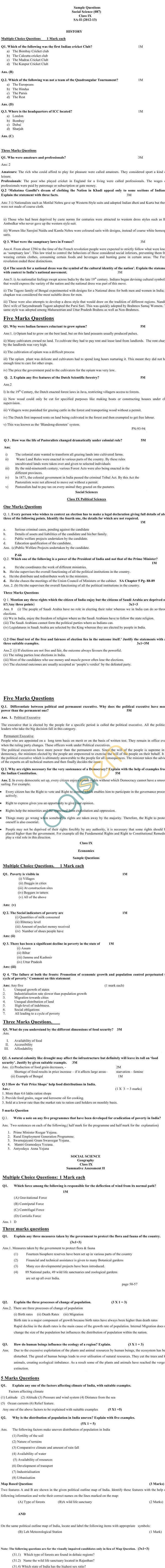 CBSE Board Exam Sample Papers (SA2) Class IX - Social Science