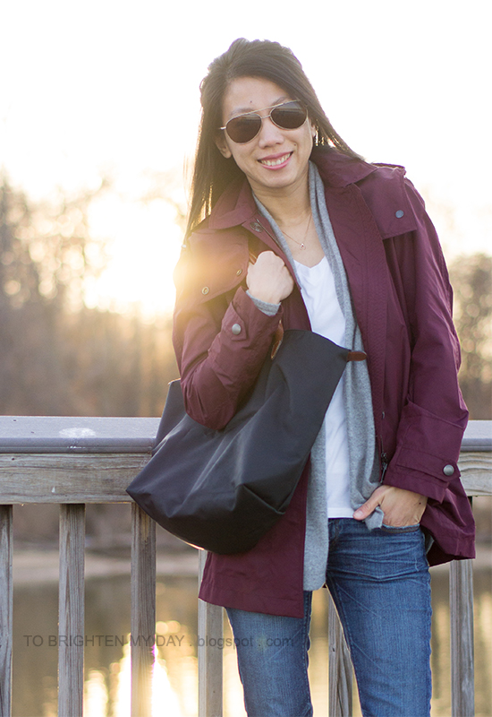 dark red jacket, gray open cardigan, white tee