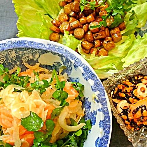 teruyoさんの料理 カリカリごぼうの甘辛あえ.....サーモンとオニオンのマリネ..... ひじき、キムチ、竹輪と納豆和え