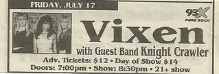 07/17/98 Vixen/ Knight Crawler @ Medina Entertainment Center, Medina, MN