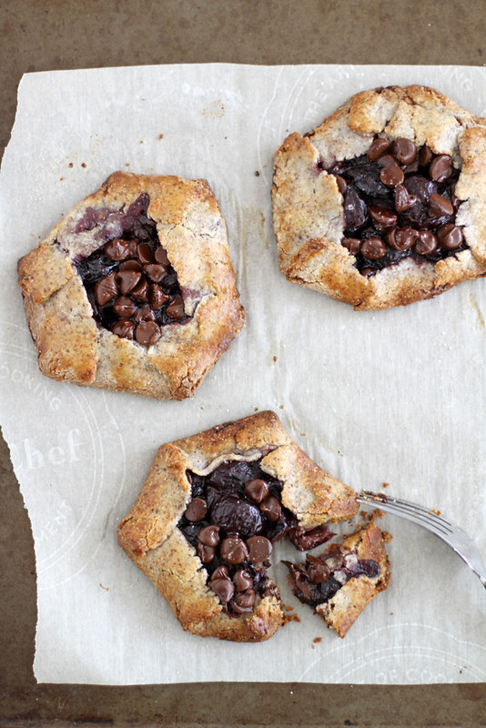gluten free dark chocolate cherry hazelnut galettes