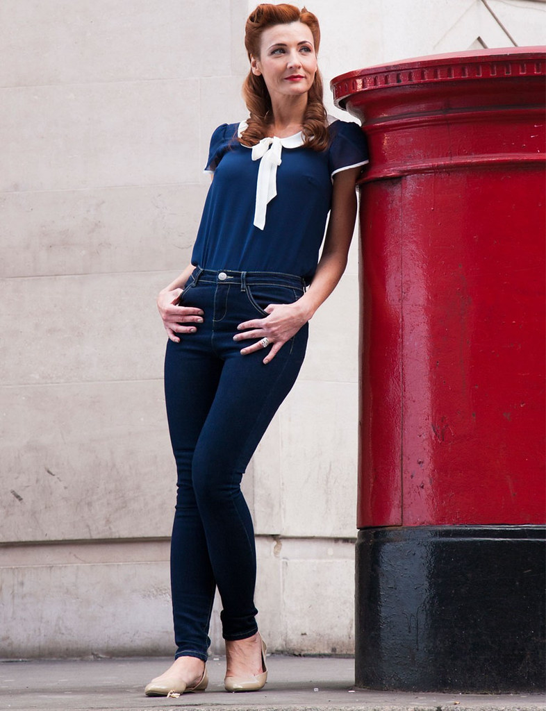 Fever London - Charlie Peter Pan Collar Top, Phoenix Skinny Jeans