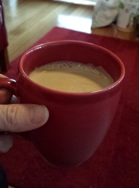 Eskil helped make a coffee for mummy