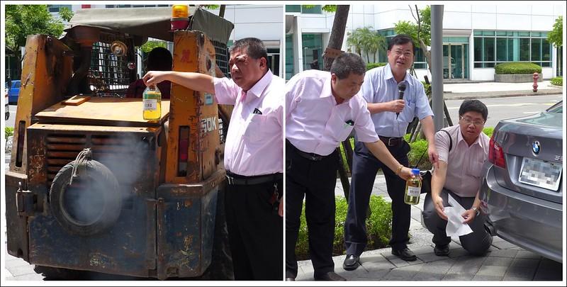 比較不同柴油產生的廢氣。左:小山貓,使用傳統化石柴油,右:使用100%生質柴油車。攝影:陳文姿。