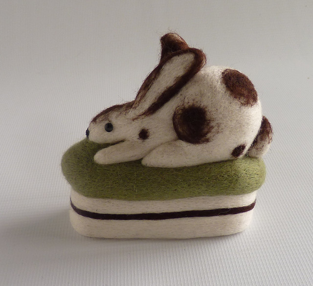 Needle felt Staffordshire rabbit