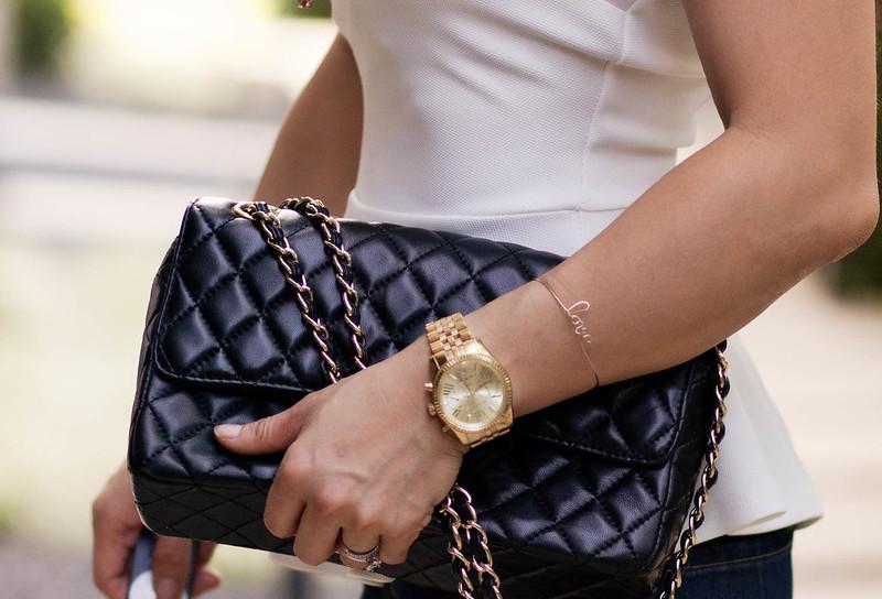 paris love bracelet, chanel purse, michael kors watch #accessories