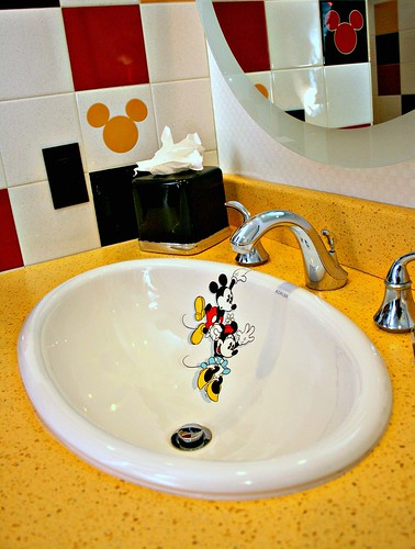 Mickey Penthouse guest bath sink. Finding BonggaMom  Inside the Disneyland Hotel s Mickey Mouse