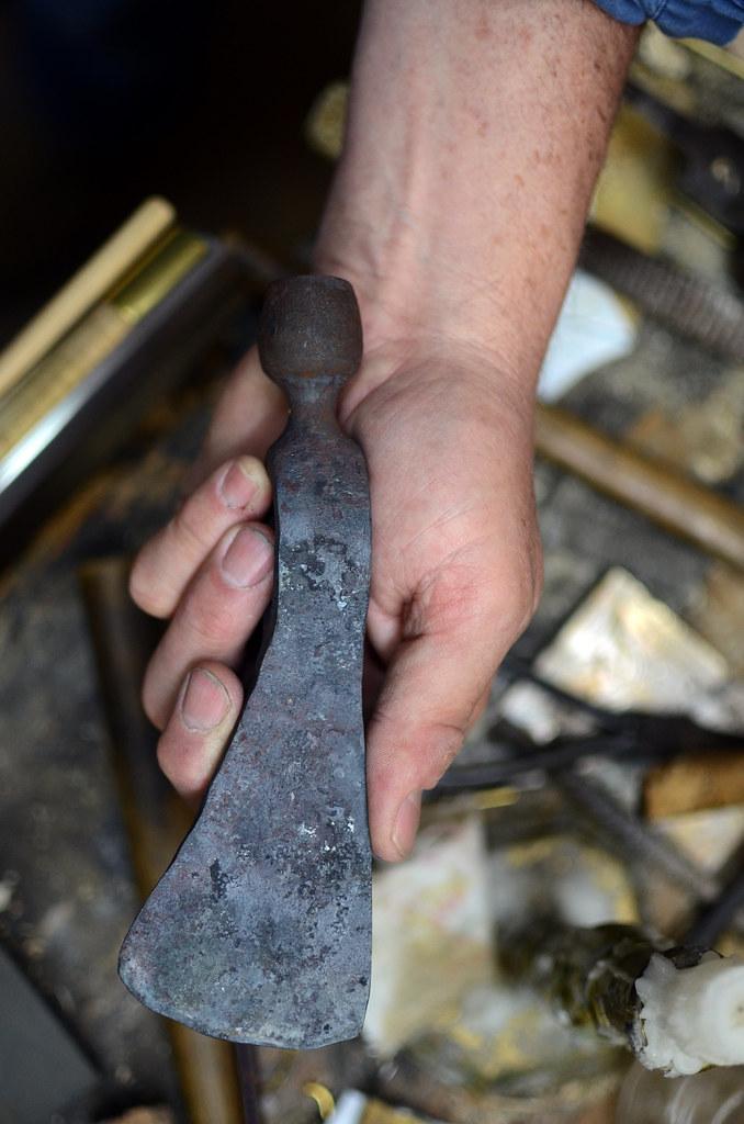 Master gunsmith | Bruce Larson holds a pipe tomahawk blade