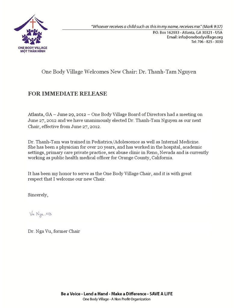 Press release New Chair
