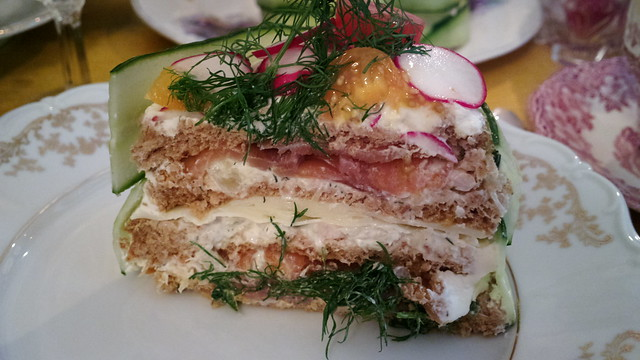 Cold smoked salmon and Gruyère cheese sandwich cake - a photo on ...
