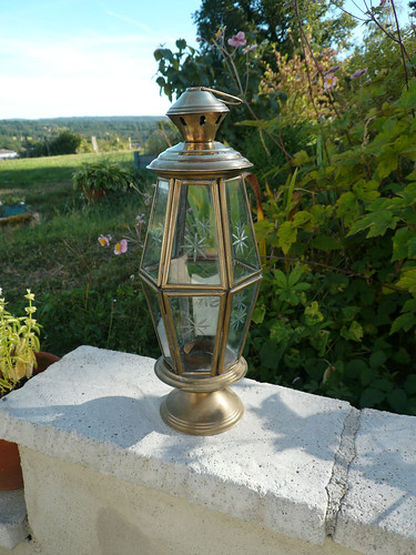 Brass and cut-glass candle lantern