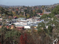Armidale from the lookout in mid autumn. Note the spires of the Anglican and Catholic cathedrals and old Teacher's College building on hill. New South Wales.