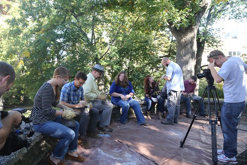 Flintknapping circle, UW-Madison graduate students