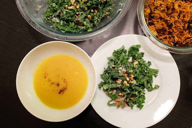 pumpkin soup, kale grapefruit pine nut goat cheese salad, + roasted sweet yams with paprika