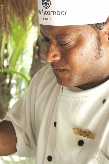 Steven Preparing Creole chicken at Ocean Restaurant- Saint Anne Resort
