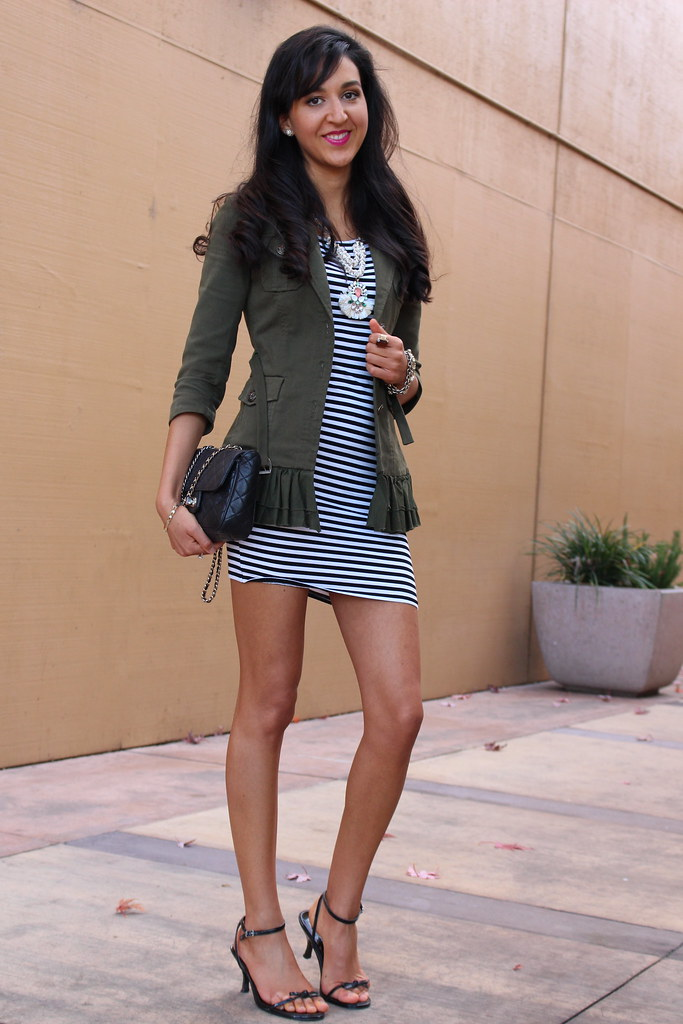 Military Jacket and a Striped Dress 4