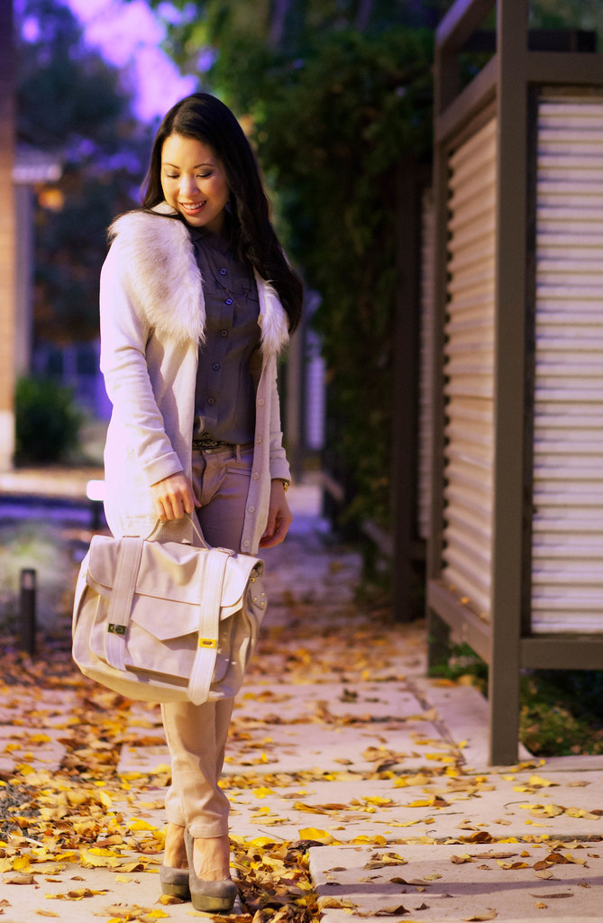 cute & little blog   pastel outfit   fall trend   faux fur cardigan, taupe shirt, pink pants