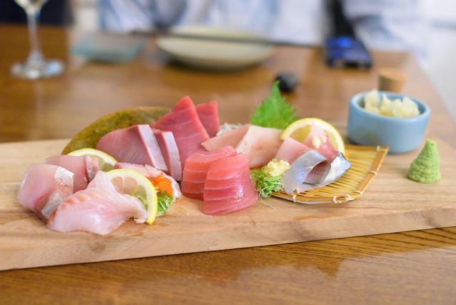 Sashimi kanpachi, hamachi, sustainable bluefin chutoro, maguro, saba, suzuki