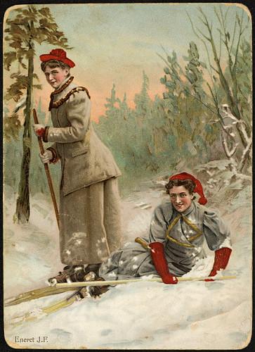 2 kvinner på ski, ca 1900