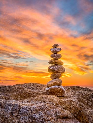 Gravity At Work - Golden Sunset, Asilomar Beach - Pebble Beach, CA