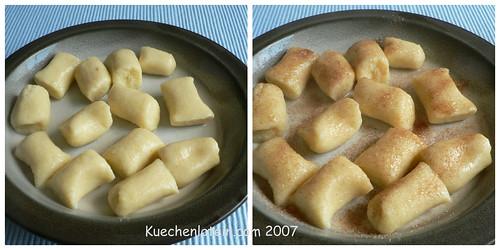 Suesse Kartoffelkloesse mit Zimtzucker