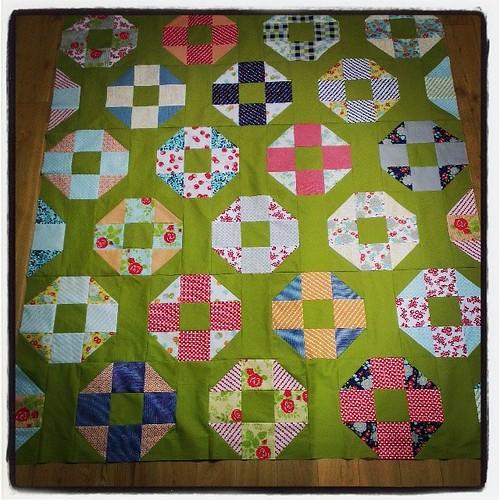 Quilt top done! #simplyretro @thimbleblossoms  #happygoluckyfabric