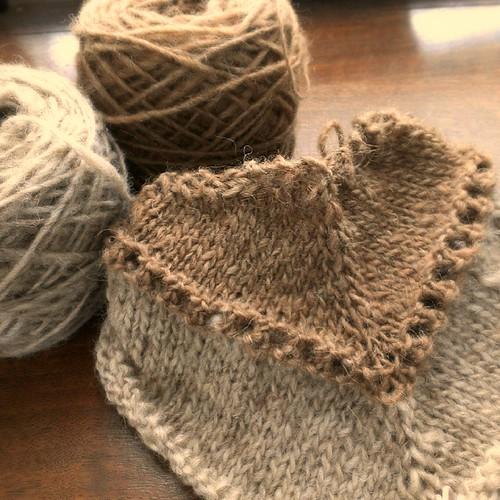 Shetland triangle shawl. #nodyes #WIP #handspun