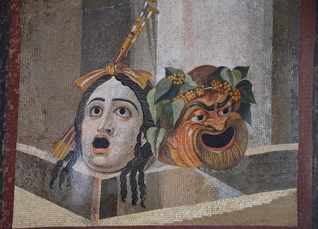 Mosaic depicting theatrical masks of Tragedy and Comedy, 2nd century AD, from Rome Thermae Decianae (?), Palazzo Nuovo, Capitoline Museums