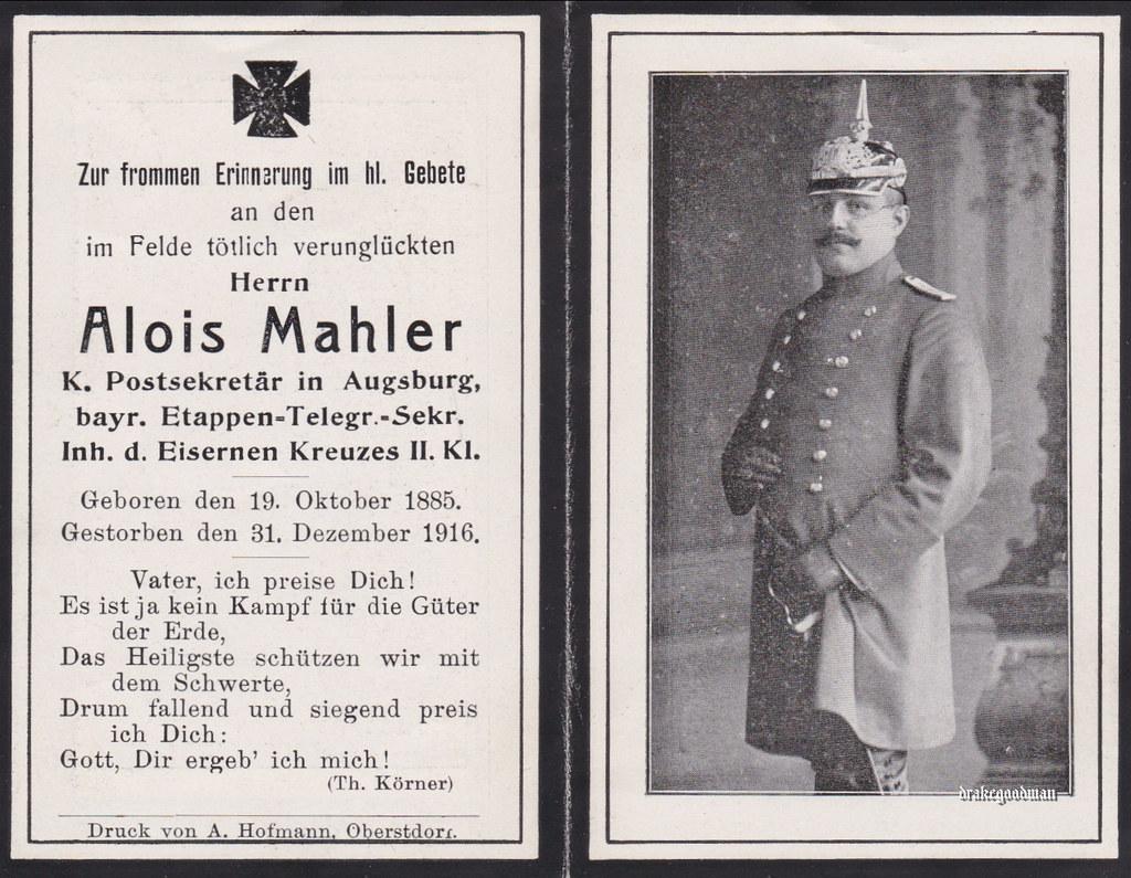 Sterbebild for alois mahler bayer etappen telegraphen sekretär holder of the