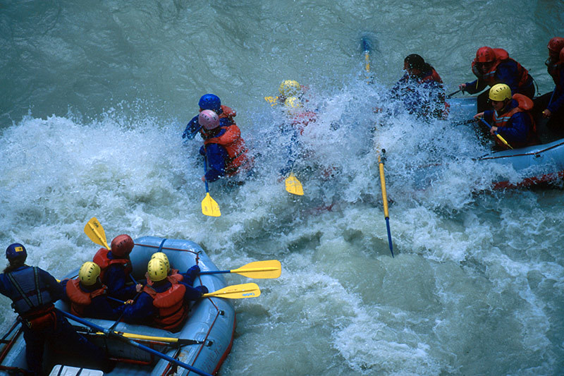 Whitewater River Rafting on the Kicking Horse River; Outdoor Recreation in British Columbia, Canada