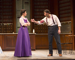 Christina Pumariega and Juan Javier Cardenas in the Huntington Theatre Company production of Melinda Lopez's stirring new drama BECOMING CUBA directed by M. Bevin O'Gara, playing March 28 - May 3, 2014 at the South End / Calderwood Pavilion at the BCA. Photo: T. Charles Erickson