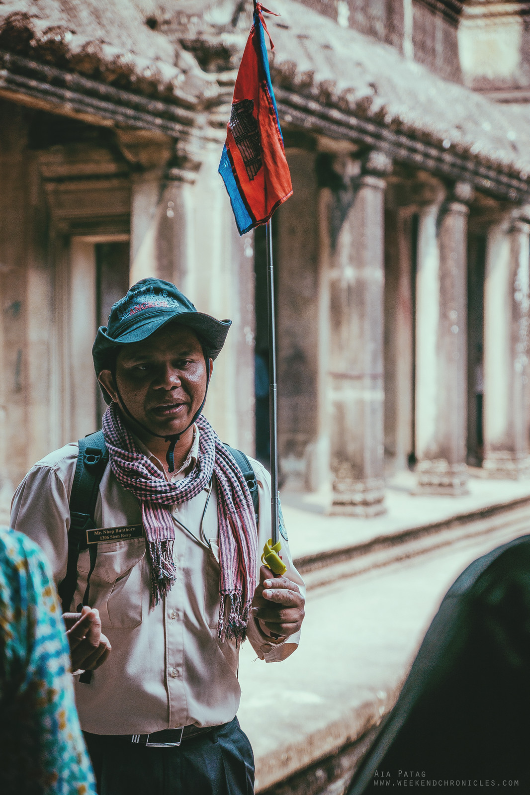 A very enthusiastic French-speaking Cambodian tour guide