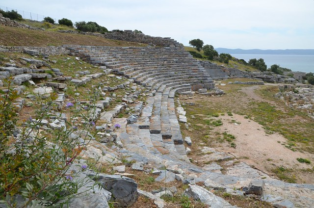 The Theatre at Thoricus, built ca. 525-480 BC presenting a unique elongated layout, Attica, Greece