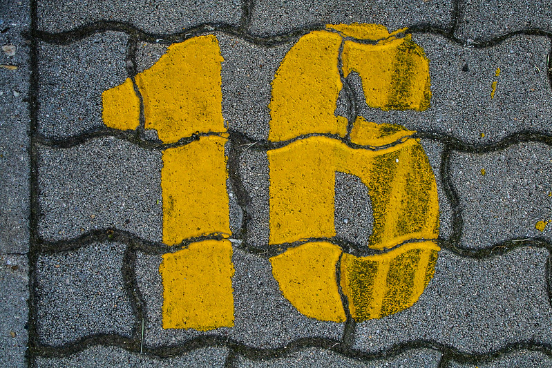 Yellow grunge number - 16