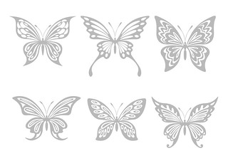 sample - Butterfly silhouettes - in medium grey