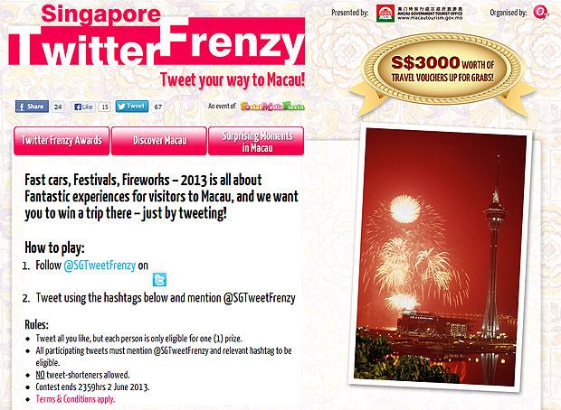 Singapore Twitter Frenzy 2013 - Tweet your Way to Macau!  - Alvinology