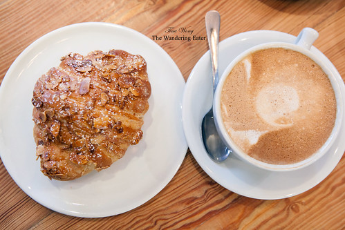 Almond croissant with a large croissant