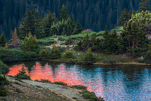 trees sunset summer usa lake mountains color reflection nature water rural america forest landscape rockies outdoors evening pond scenery colorado view unitedstates scenic alpine wetlands environment rockymountains intimate tranquilscene summerscenics paulgana lakescenics paulscoloradophotography