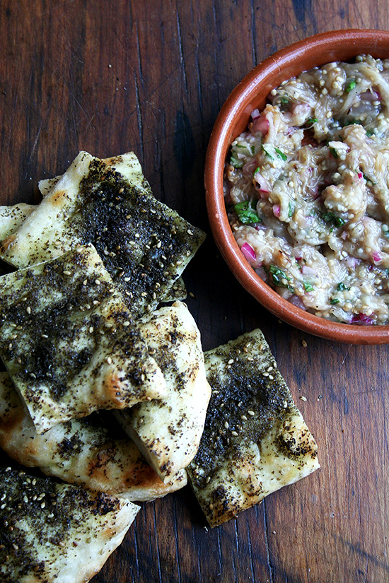 Burnt Eggplant with Za'atar Flatbread