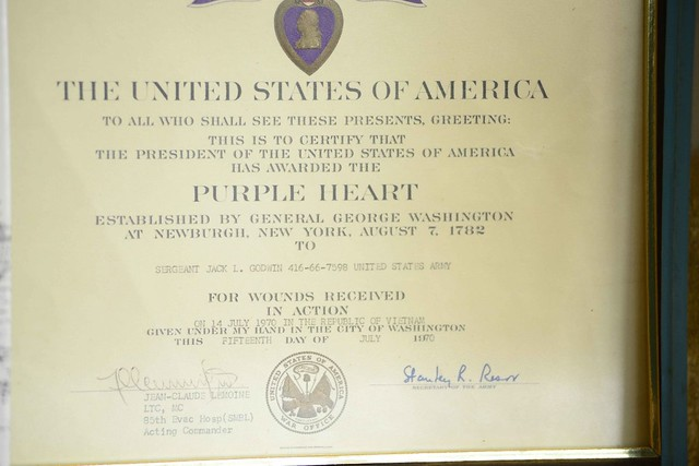Vietnam war veteran jack godwin flickr photo sharing for Purple heart citation template