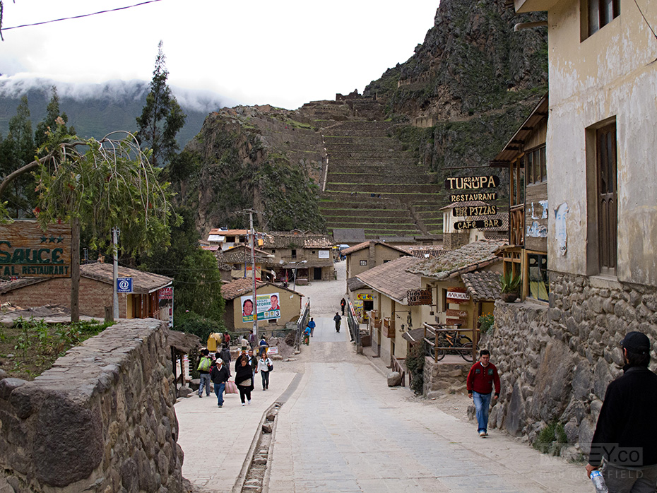 Peak hour on Ollantaytambo's main strip.